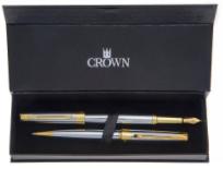 Conjunto Caneta Crown Personalizada Metal President Esferografica e Tinteiro Prata