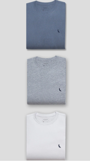 Kit 3 Camisetas Pica-Pau Bordado Gota