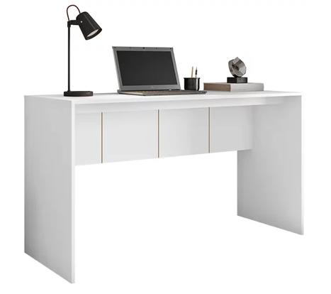 Mesa Para Computador Escrivaninha Office Cubic 1.36 Branco Texturizado - Caemmun